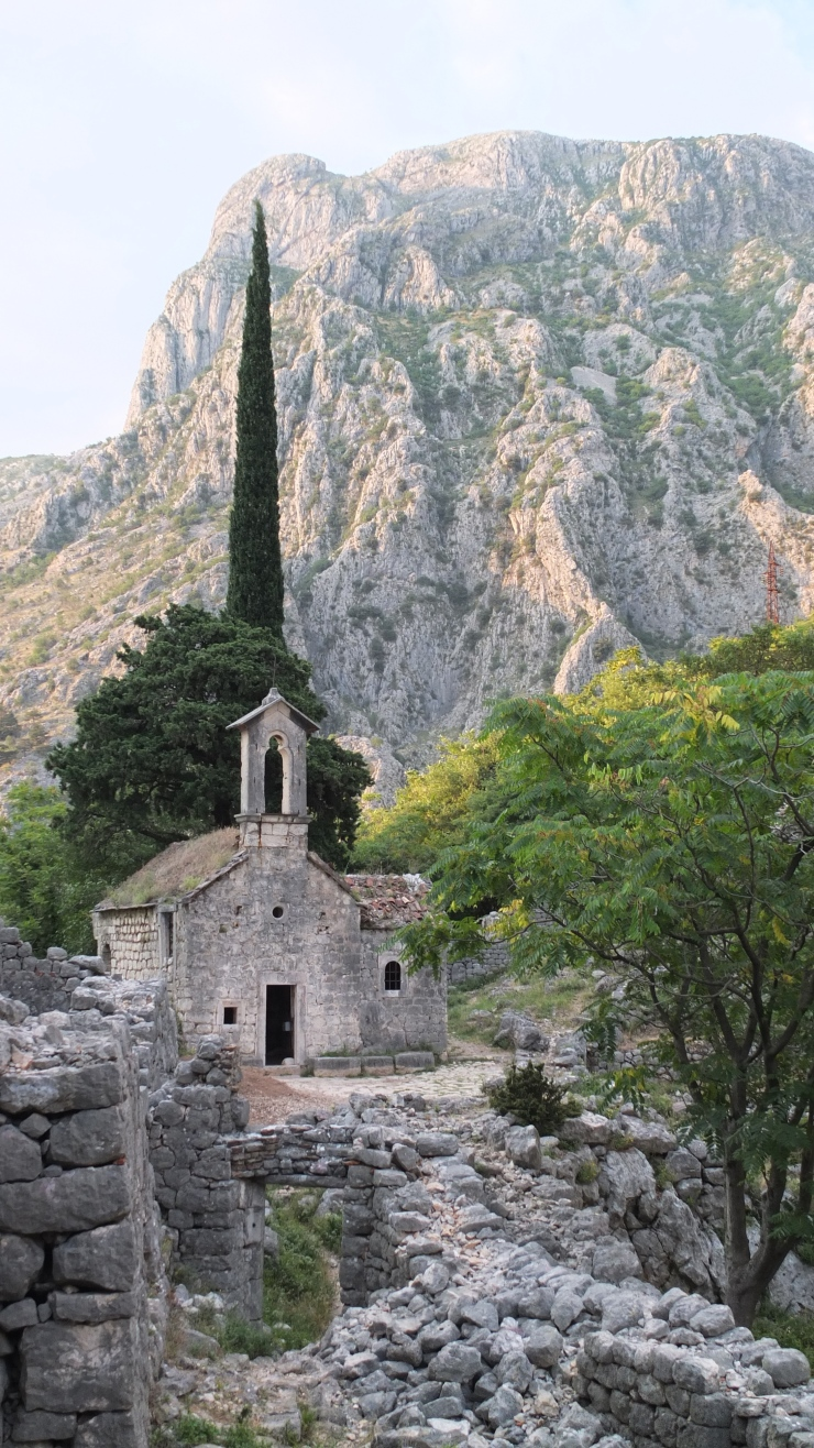 An abandoned church on the off-the-beaten track trail to the ancient walls. If you're lucky enough you might be attacked by some goats